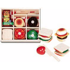 $19.99 - I?ll have a Dagwood with all the extras. • The Sandwich Making Set has eight, solid, wooden, mix-and-match pieces with Velcro tabs to help the pieces stay together.• The Sandwich Making Set includes bread slices, a seeded roll, veggie slices, choices of meat, and more. • Contains 17 pcs for some delicious sandwich making fun!rDIMENSIONS: 13 X 9 X 1.75Just one click away to explore all our play food!