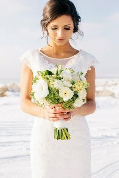 love this bouquet, dress, hair, & make-up
