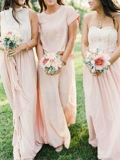 Blush pink bridesmaid dresses #wedding #bridesmaids