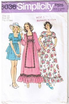 Girls-Midriff-Empire-Waist-Dress-Ruffles-Ties-Sewing-Pattern-Junior-Teen-Sz-7-8