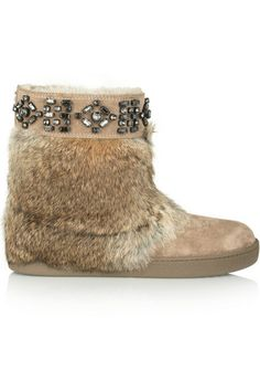 Tory Burch                               Dalton rabbit-trimmed suede ankle boots