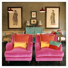 pink velvet chair for kks room Decoration Inspiration, Interior Inspiration, Style At Home, Pink Velvet Chair, Velvet Chairs, Pink Chairs, Pink Couch, Orange Chairs, Velvet Color