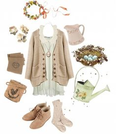 Floral accessories, warm socks, brown suede oxfords, and a light brown cardigan over a light mint top. Top it all off with a scallop peter pan collar and cameo necklace!