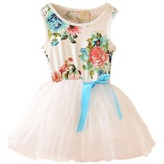 Urparcel Baby Girls Floral Tulle Tutu Dress Princess Bowknot Vest One... ($4.28) ❤ liked on Polyvore featuring kids