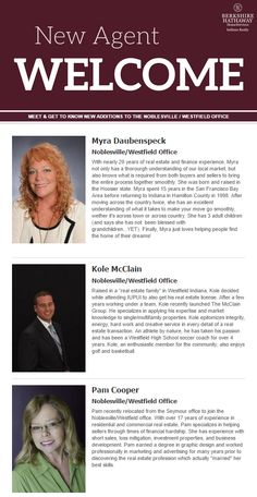 Meet and get to know new agents who have recently joined the Noblesville/Westfield Office! Real Estate Branding, Getting To Know, Indiana, Meet