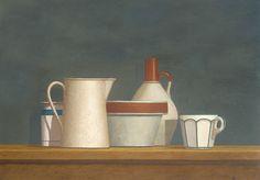 """Still Life with White Pitcher,"" William Bailey, 1978, casein on paper, 12 x 17"", Menconi & Schoelkopf."