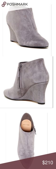 """NIB Cole Haan Jordyn Wedge Bootie Amazing suede wedge booties by Cole Haan in Stormcloud Suede.  Almond split toe.  Pull-on with side zip closure.  Lightly padded footbed.  Covered wedge heel.  Approx 3"""" heel.  Suede upper, leather/manmade sole.  True to size.  B= Medium width. Cole Haan Shoes Ankle Boots & Booties"""