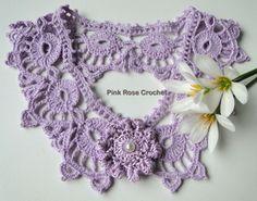 \ PINK ROSE CROCHET /: Colar Crochê com Flor + grafico