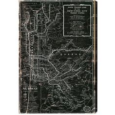 Oliver Gal 'NYC Subway 1958' Wall Art (16.800 RUB) ❤ liked on Polyvore featuring home, home decor, wall art, fillers, books, items, stuff, furniture, grey and vintage map wall art