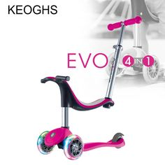 Children's kick scooter baby 4in1 PU 3wheels flashing outdoor sports Bodybuilding 1-14years old