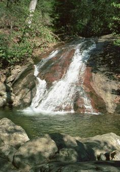 """Blood Mountain Falls, affectionately known as """"the sliding rock,"""" just north of Dahlonega, Georgia (U.S.A.)  Our next section hike is on this mountain.  Also known for the bear population! Been sliding down this one a few times!"""
