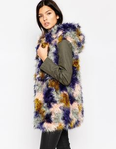 Image 1 of Urbancode Patchwork  Faux Fur Parka