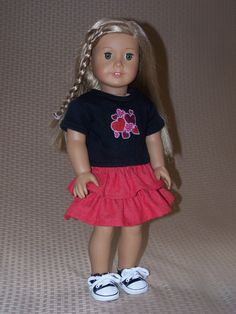 18 Inch Doll Clothes: Embroidered T shirt, Ruffle Skirt and Tennis Shoes Outfit for American Girl by ICImagination on Etsy