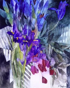 Blue-lilies, watercolour by Shirley Trevena