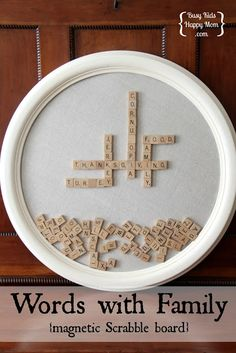 .:* L - Words with Family - Magnetic Scrabble Board.  It looks nice in the home, promotes reading and spelling, it's not electronic, and the entire family can enjoy it together.  busykidshappymom.org-- I love this idea! I think it could easily be recreated at home -- especially with all the magnetic boards on Pinterest!