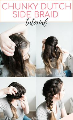 An easy and quick Chunky Dutch Braid tutorial – here's how to acheive this beautiful side braid and a great dutch braid hairstyle idea from Chelsie of Hey There, Chelsie! How to braid your hair extensions has never been easier! // Hey There, Chelsie Nurse Hairstyles, Side Braid Hairstyles, Braided Hairstyles Tutorials, Hairstyle Braid, Dutch Braid Tutorials, Side Hairstyles Tutorial, How To Braid Hair, Asian Hairstyles, Female Hairstyles