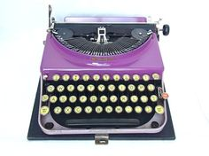 purple typewriter RARE working vintage by thespectaclednewt