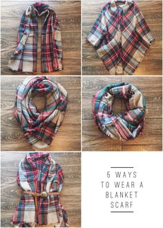 5 Ways To Wear A Blanket Scarf | Winter Style, Boho Fashion, Blanket Scarves, Plaid Scarf, Winter Fashion, Indie Style