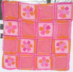 Rag Quilt in Hot Pink and Orange Flower by avisiontoremember
