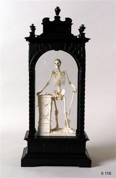 "unclefather: "" sixpenceee: ""An ivory figure of a skeleton by Christof Angermair built in 1632. It personifies death and serves as a memento mori: the skeleton holds a spade, a symbolic reference to..."