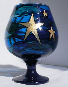 Sun, moon and Stars hand painted glass candle holder. Pebeo glass paints, glass brandy snifter.