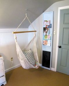 girl's room swing - The Painted Home - Holy cow! My girls would die! Indoor Hammock Chair, Hanging Swing Chair, Indoor Swing, Hammock Swing, Swinging Chair, Hanging Chairs, Swing Chairs, Hammocks, Hammock In Bedroom