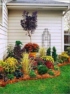 Colorful Flower Garden Design for House Corner