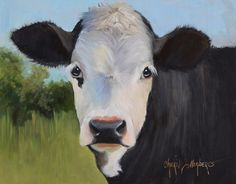 Small Original Cow Painting FRAMED 11x14 by OilPaintingsByCheri