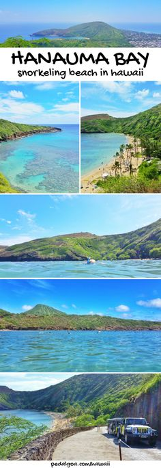 Hanauma Bay - Best beaches for snorkeling in Oahu. These are some Hawaii travel tips. US beaches in Oahu Hawaii, there are activities like swimming and snorkeling with turtles and fish! Best Oahu beaches give you things to do with nearby hiking trails, food, and shopping. USA travel destinations for bucket list for world adventures when on a budget! So outside of Waikiki and Honolulu, put on the Hawaii itinerary! Snorkeling gear to Hawaii packing list, what to wear in Hawaii... #hawaii #oahu