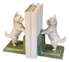 Cast Iron Standing Westie Dog Bookends by Universal Lighting and Decor. $59.91. These hand-made dog antique chic bookends are crafted from cast iron by artisans using traditional methods and materials. Due to their hand-crafted nature, variations in size, shape and color will occur, making each one unique. These wrought iron pieces may rust over time. This natural process can be slowed by periodically applying your own protective finish.