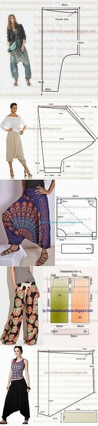 Most up-to-date Free of Charge sewing pants harem Popular different crotch patterns harem pants Sewing Pants, Sewing Clothes, Doll Clothes, Dress Sewing Patterns, Clothing Patterns, Shirt Patterns, Diy Kleidung, Estilo Hippie, Creation Couture