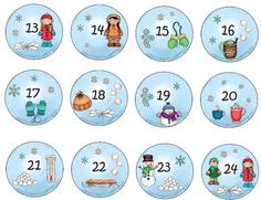 Adventkalender Zahlen 13-24