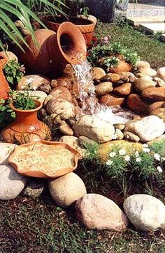 Why You Should Invest In Simple Water Features For Your Home Garden – Pool Landscape Ideas Backyard Water Feature, Ponds Backyard, Garden Water Fountains, Water Garden, Mdr Garten, Garden Waterfall, Water Features In The Garden, Front Yard Landscaping, Landscaping Ideas