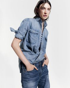 SEP '14 Style Guide: J.Crew women's chambray shirt, Point Sur jean in Japnese selvedge x-rocker in Broome wash.
