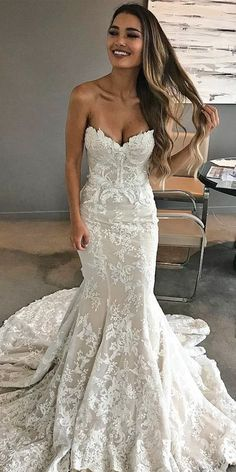 Wonderful Perfect Wedding Dress For The Bride Ideas. Ineffable Perfect Wedding Dress For The Bride Ideas. Sweetheart Wedding Dress, Sexy Wedding Dresses, Bridal Dresses, Mermaid Sweetheart, Casual Wedding, Strapless Lace Wedding Dress, Dresses Dresses, Fall Wedding, Lace Mermaid Wedding Dress