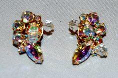Vintage / Kramer / Aurora Borealis / Rhinestone / Earrings / Signed / Designer / Old Jewelry Jewellery by AmericanHomestead on Etsy