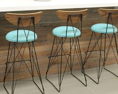 A pair of stainless Steel mid century Bar by RetroEvolutionDesign