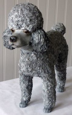 Life Size paper Mache toy poodle Made by Bonnie M.