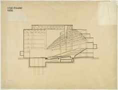Total Theater for Erwin Piscator, Berlin, 1927: Longitudinal section | Harvard Art Museums
