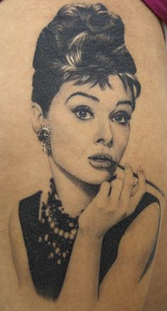 Audrey Hepburn tat by Xavi Garcia, been wanting this on my thigh since I first saw it :)