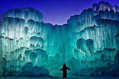 The Ice Castles in Silverthorne, Colorado These giant hills of ice, glow and pulse with life and energy of the  cold north.