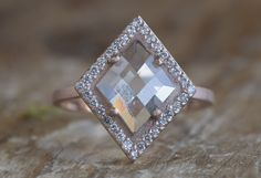 ONE OF A KIND NATURAL ROSE CUT GEOMETRIC DIAMOND RING WITH PAVÉ HALO :: Alexis Russell