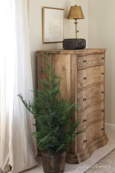 I love infusing a little holiday in each room of our home including our bedroom. I love infusing a little holiday in each room of our home including our bedroom. Wood Bedroom Furniture, Bedroom Dressers, Pine Furniture, Nightstands, Bedroom Wall, Natural Wood Dresser, Unfinished Wood Dresser, Boho Chic Bedroom, Bedroom Decor For Couples
