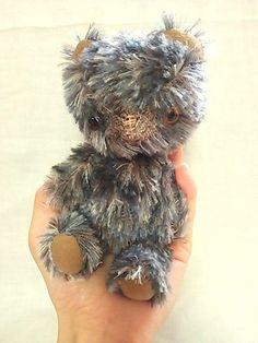 "List only until 6th June, Last color! OOAK gray mohair teddy bear, glass eyes, handmade, 7"" on Etsy, $110.00"