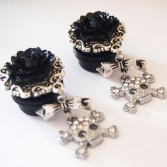 Black Glam Skull 13/16 inch 20mm Dangle Plugs For by Glamsquared, $35.00 - UGHHH IF ONLY I HAD THE GUTS!
