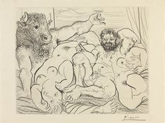 These guys seem to be having a good time - One of Picasso's etchings from the Vollard Suite - Scene Bacchique au Minataur.  You can see them all at the British Museum for free during summer 2012.