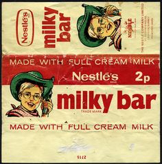 UK - Neslte's Milky Bar 2p candy wrapper - 1970's by JasonLiebig, via Flickr