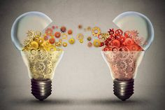 Open lightbulb icon with gear mechanisms by Idea exchange concept. Ideas agreement Investing in business innovation and financial commerce backing of creativity.