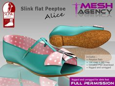 "Second Life Marketplace - Slink flat peeptoe ""Alice"" - FULL PERM"