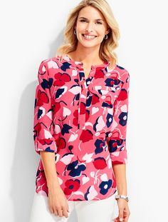 Washable Silk Popover-Abstract Tulips - Talbots